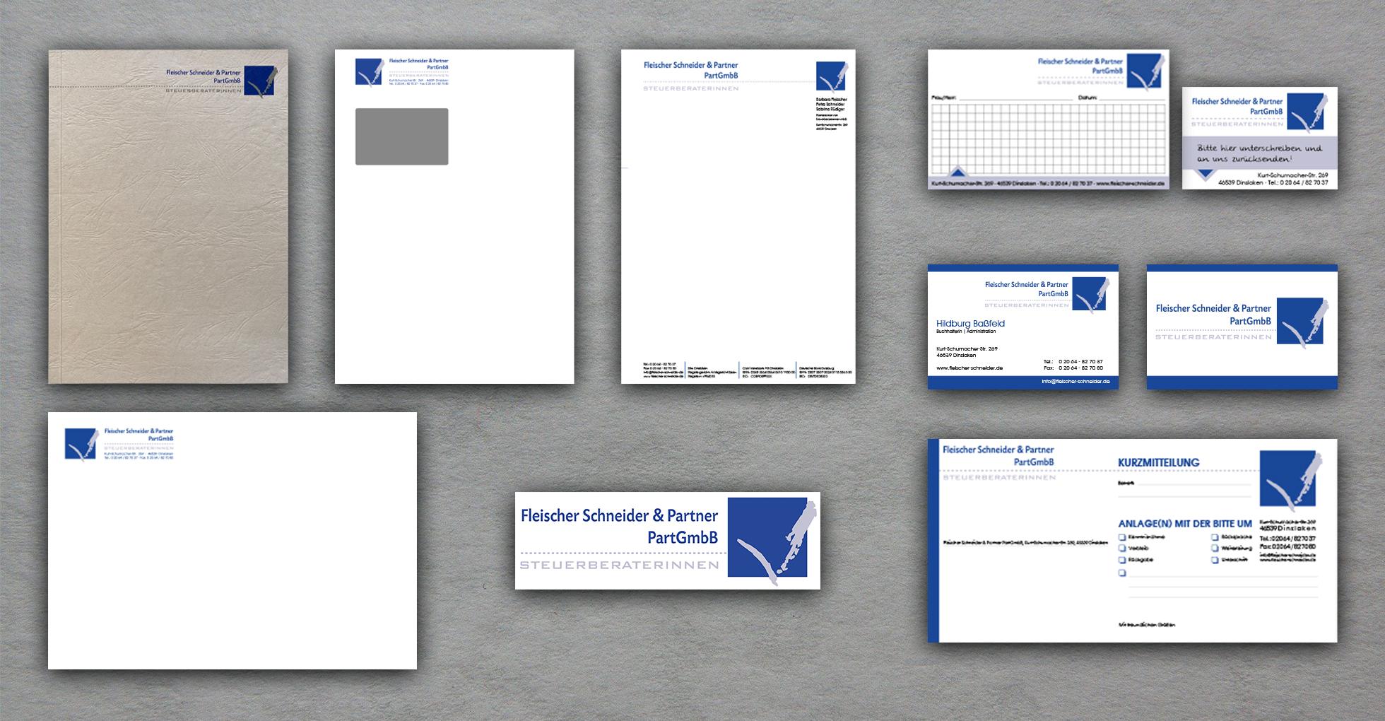 Geschäftsausstattung, Logo, Bilanzdeckel, Heftnotizen, Kurzmitteilung