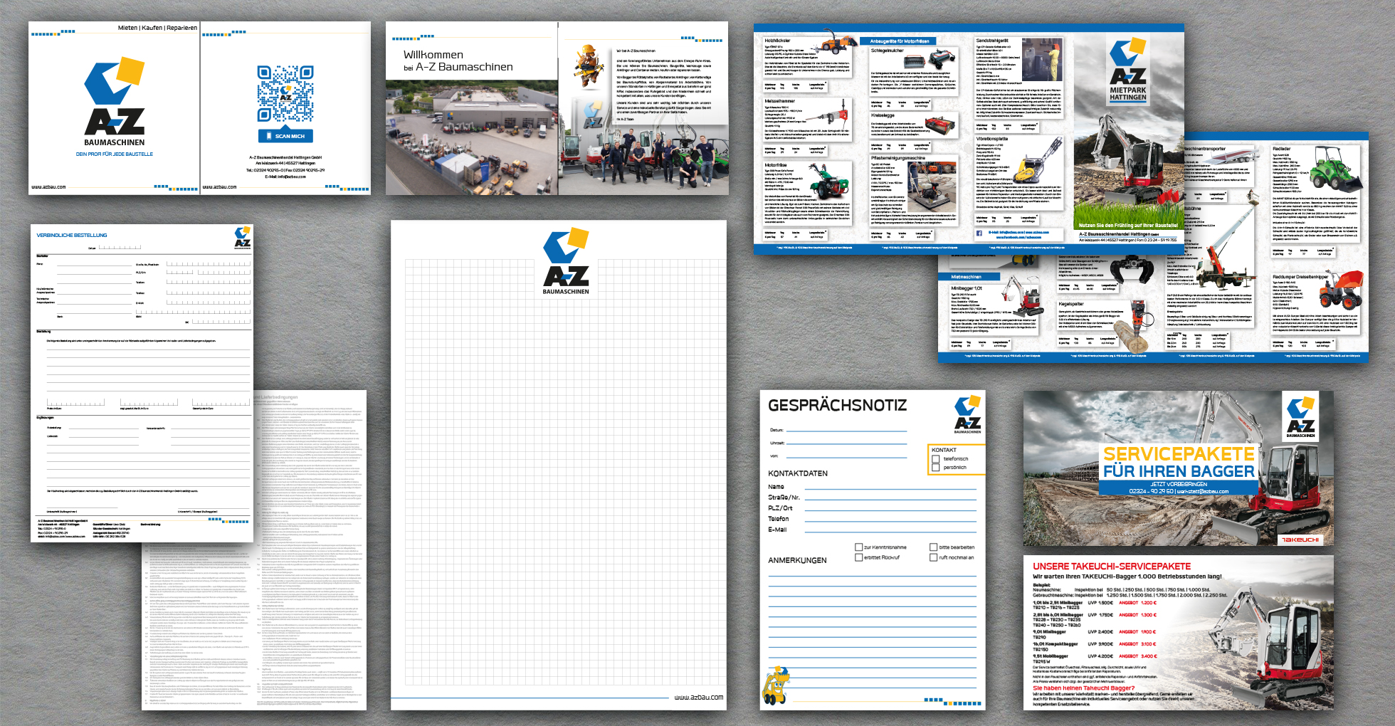 Geschäftsausstattung, Broschüren, Durchschreibesatz, Block und Werbeflyer