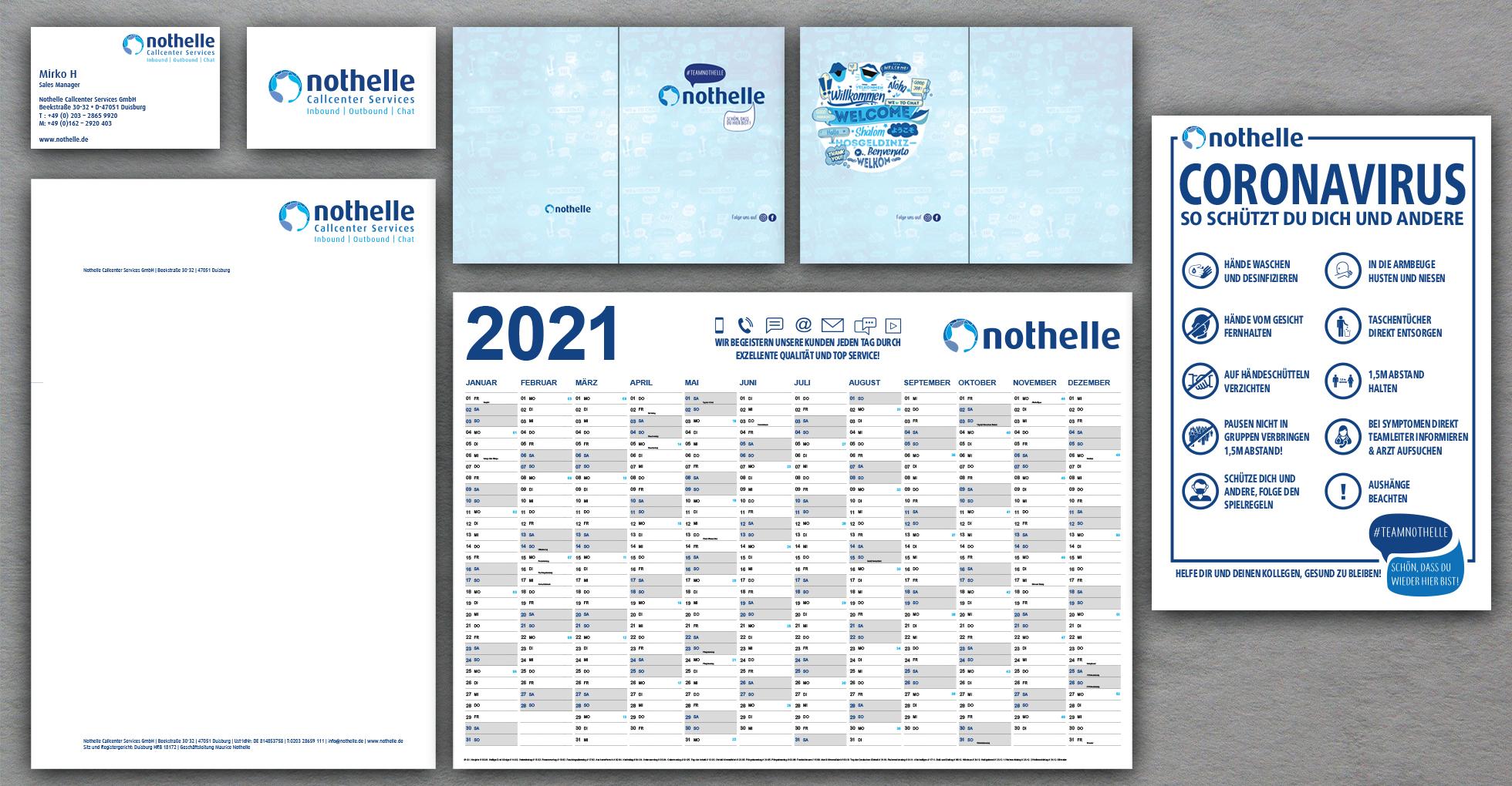 Geschäftsausstattung, Jahresplaner, Mappe und Plakat