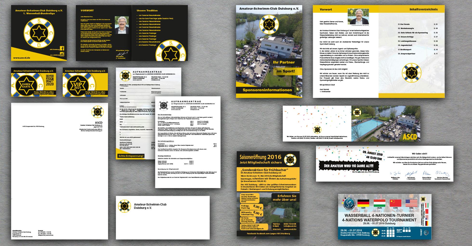 Geschäftsausstattung, Broschüren, Grußkarten, Eintrittskarten und Werbeflyer