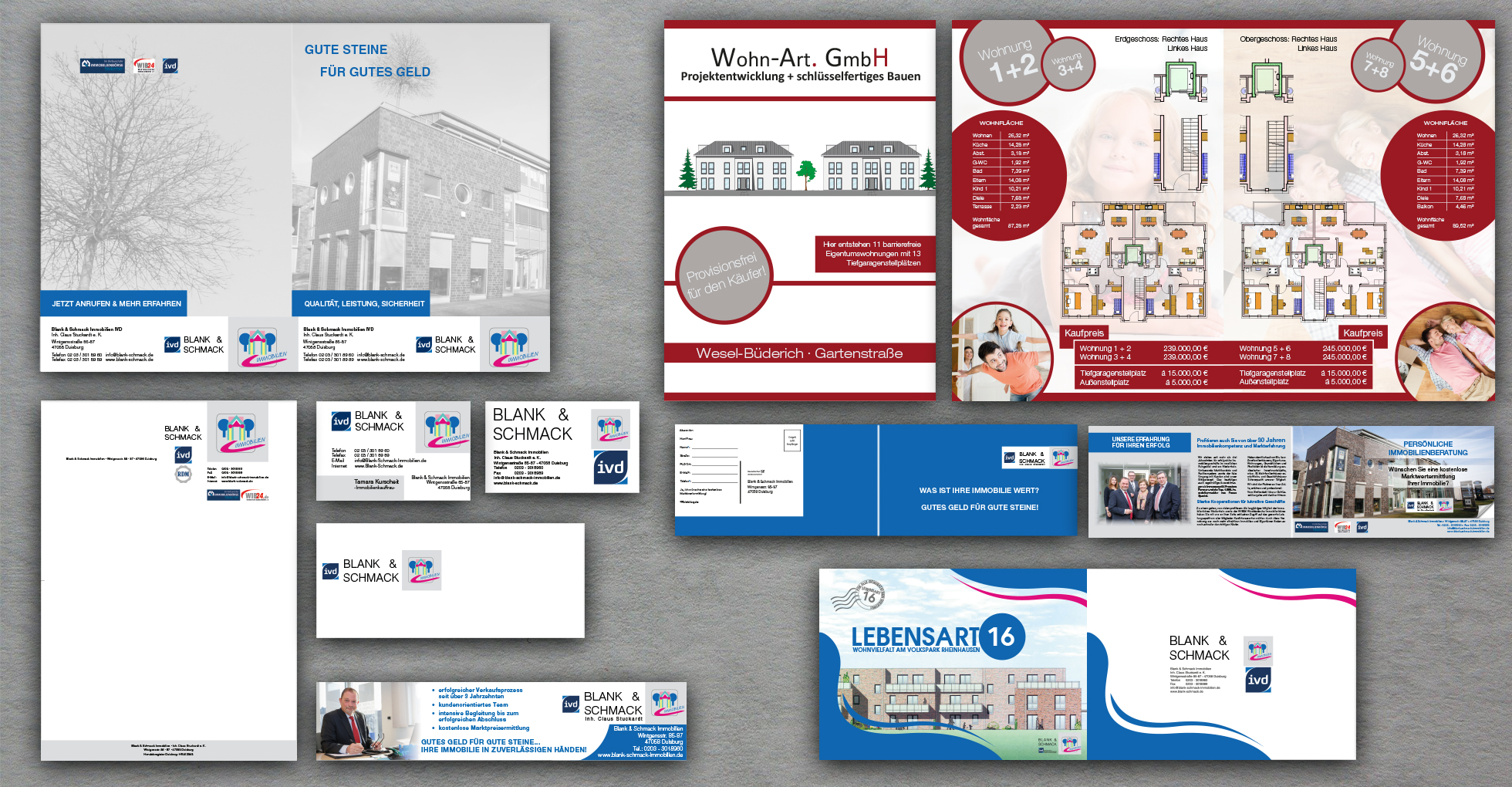 Geschäftsausstattung, Mappe, Broschüren und Werbeflyer