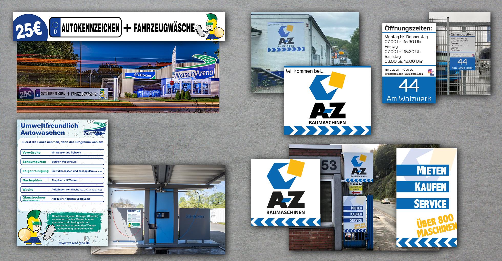 Diverse Schilder aus verschiedenen Materialien, wie Aludibond oder Forex