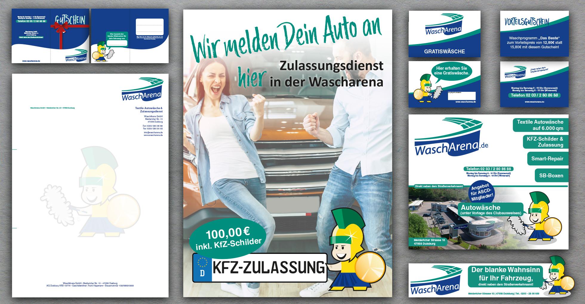 Geschäftsausstattung, Gutscheine, Plakat, Anzeigen und Werbeflyer
