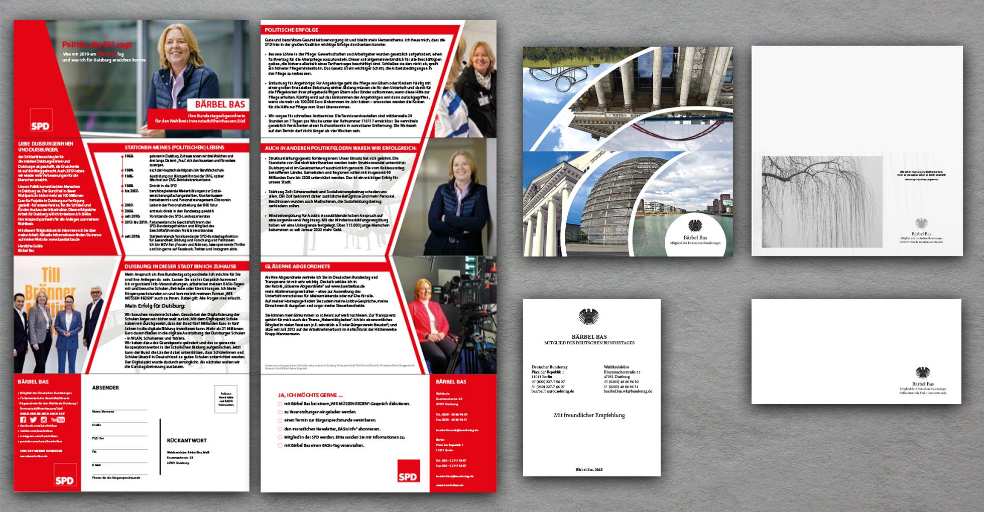 Rechenschaftsbericht, Grußkarte, Trauerkarte und Infokarte