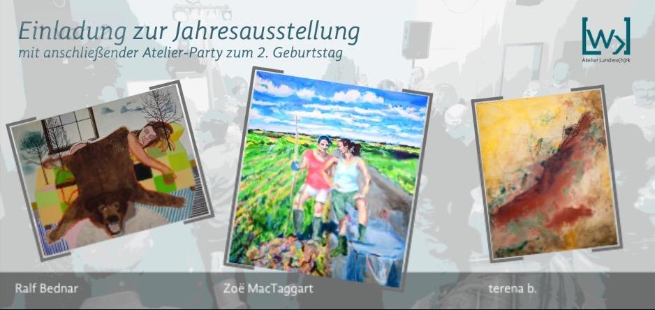 Einladung zur Jahresausstellung und Atelierparty der Ateliergemeinschaft Landwehrkin Hannover