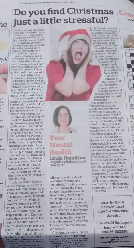 Linda Hamilton column on coping with Christmas stress.