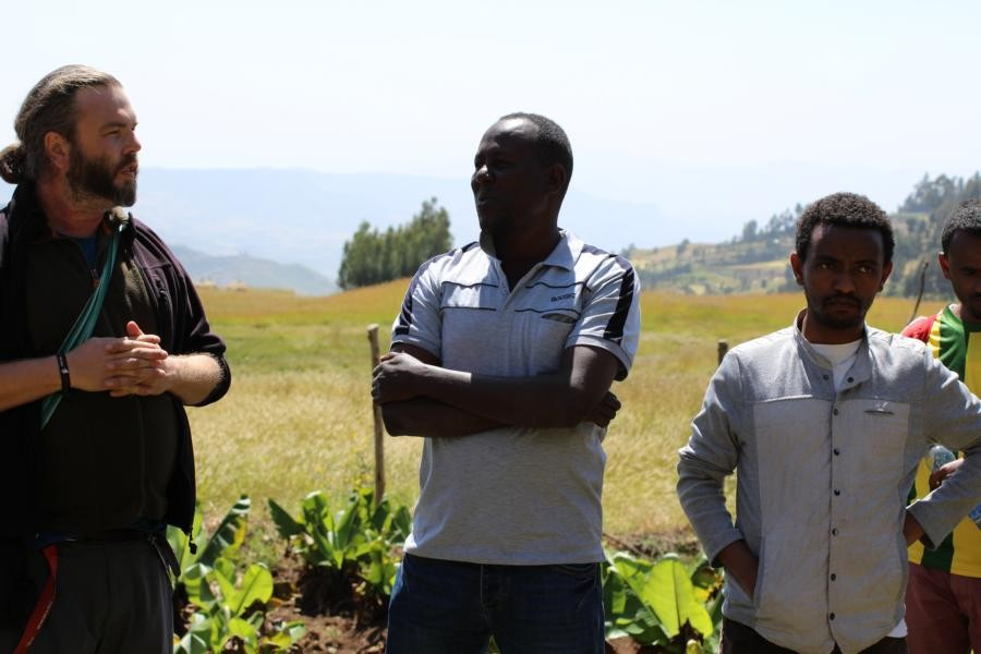 Discussing the work of the Debre Birhan University staff in  the Ankober Tree Nursery