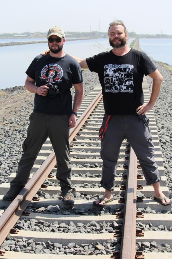 FdSc. Ben Jones and Dr. Peter Borchardt on the old railwayline in Metahara close to the Awash  Nationalparc