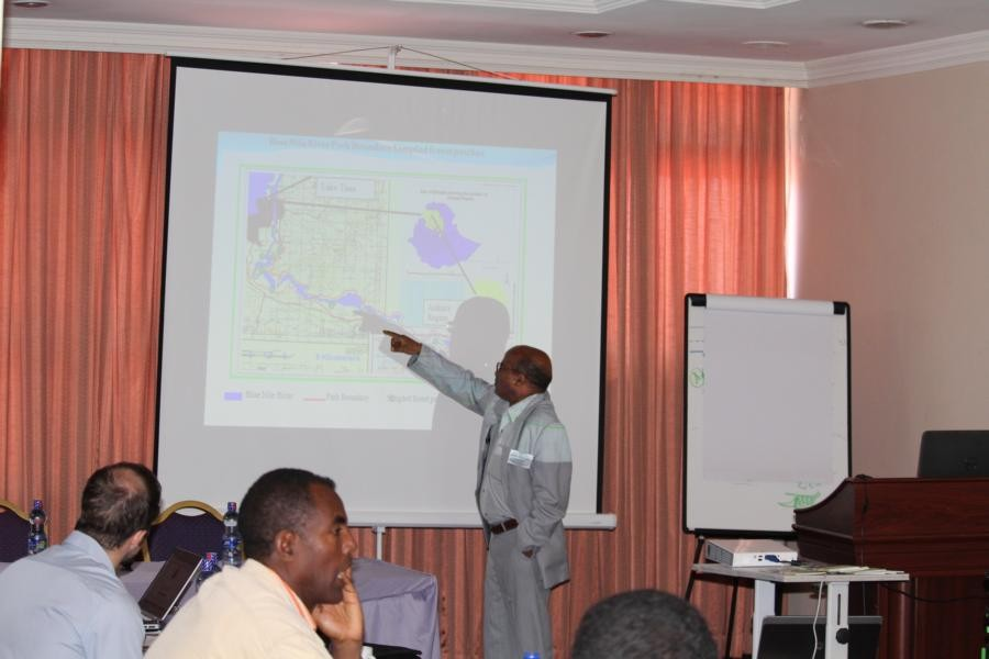 Dr. Berhanu Abraha Tsegay explains the development plan for a botanic garden in Bahir Dar