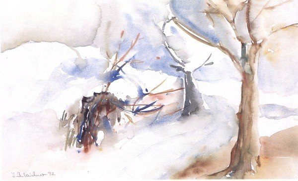 Winterlich | Aquarell auf Papier | 1993 | 50x40cm