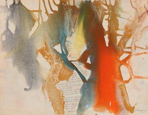 4418 Du hast gerufen, Erdfarben Bleistift auf Leinwand, 2012 90 x 70 cm