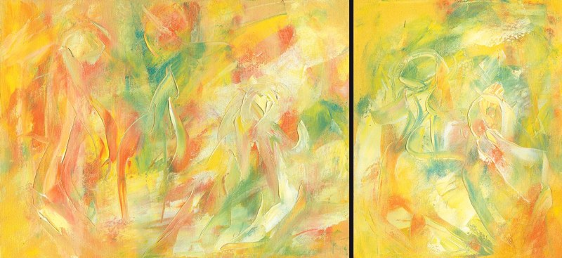 Sonnenkinder groß und klein | Öl auf Leinwand | 2006 | 40x30cm/24x30cm