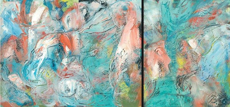 Pelikan groß und klein | Öl auf Leinwand | 2006 | 40x30cm/24x30cm