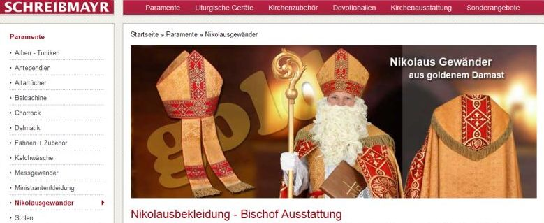 Webseitenansicht von der Firma Schreibmayr, die u.a. Nikolausgewänder verkauft