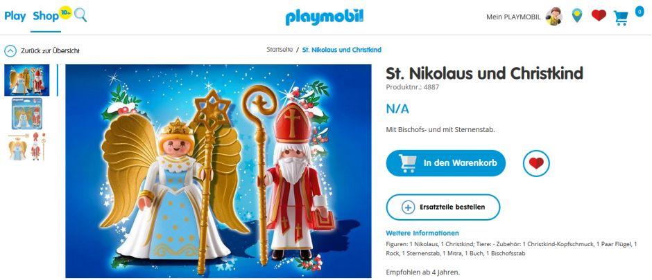 Bestellseite für den Playmobil-Nikolaus
