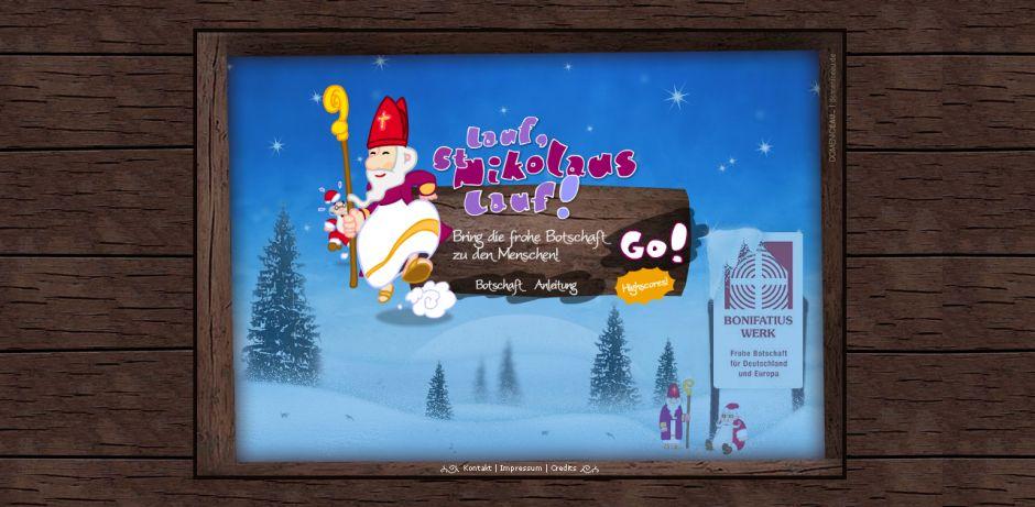 """© Screenshot von http://www.lauf-nikolaus.de/ Die Startseite des PC-Spiels """"Lauf, St. Nikolaus lauf!"""" zeigt einen rennenden Nikolaus und im Hintergrund eine Winterlandschaft mit Schnee und Tannen."""