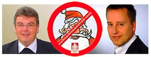 Links zu sehen: Msgr. Georg Austen, in der Mitte: das Logo der Weihnachtsmannfreien Zone und rechts ein Porträt von Christoph Sommer.