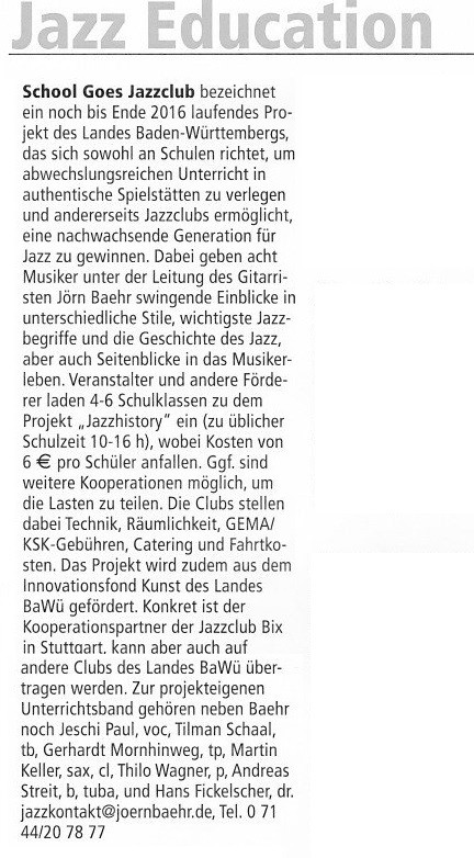 "Artikel im ""Jazzpodium"" vom April 2016"