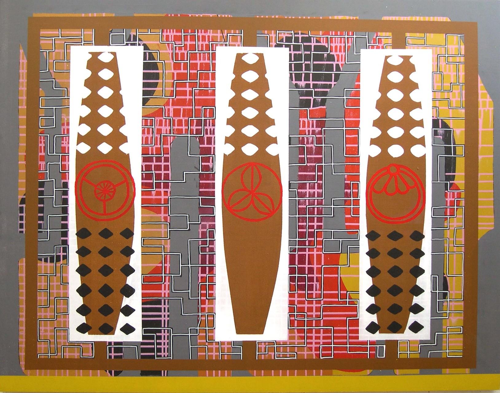 TRES SOBRE ENLACES. Acrílico sobre madera. 114x146. 2004