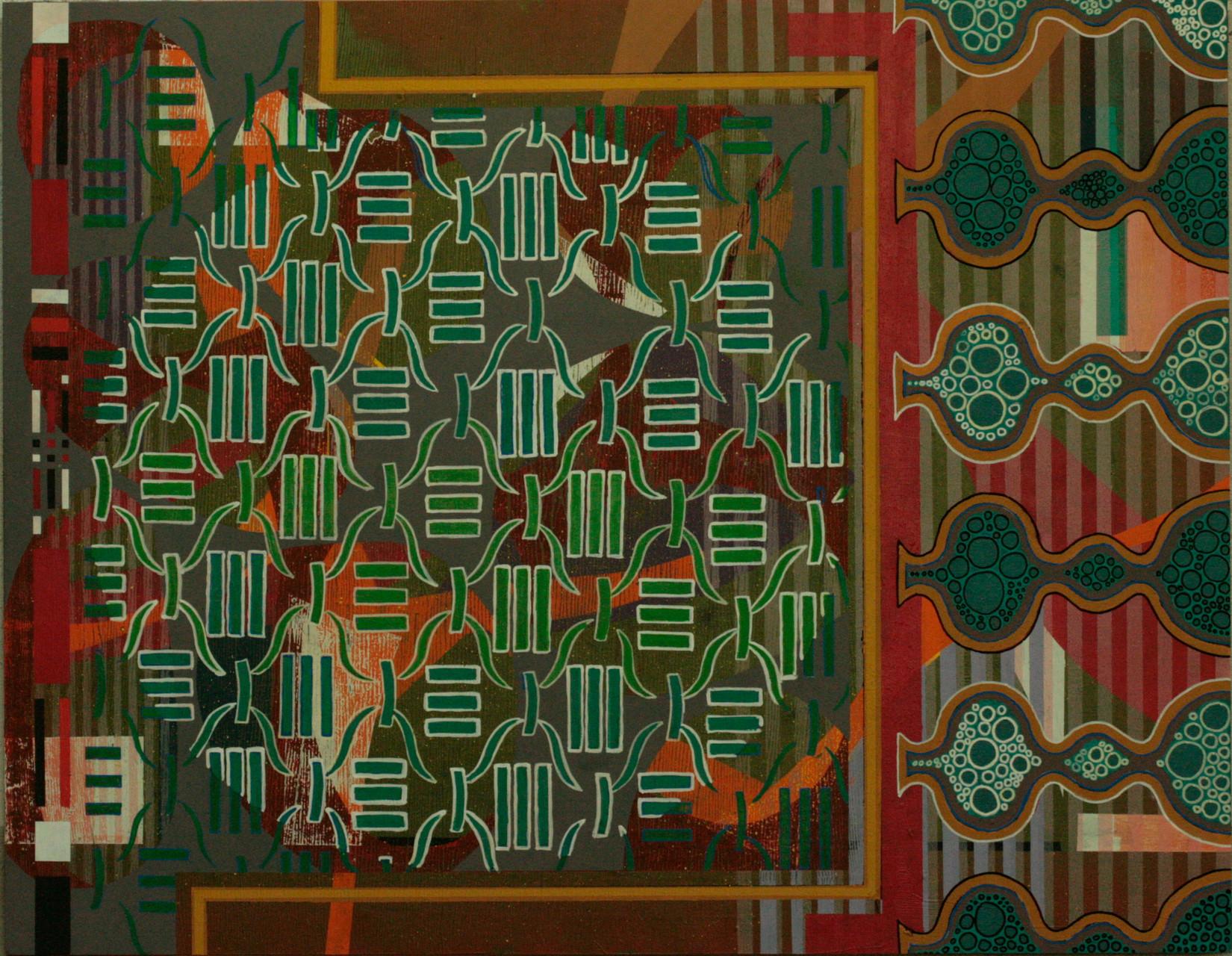 CÍRCULO DE OCNOS. Acrílico sobre madera. 146X114 cm.   2015