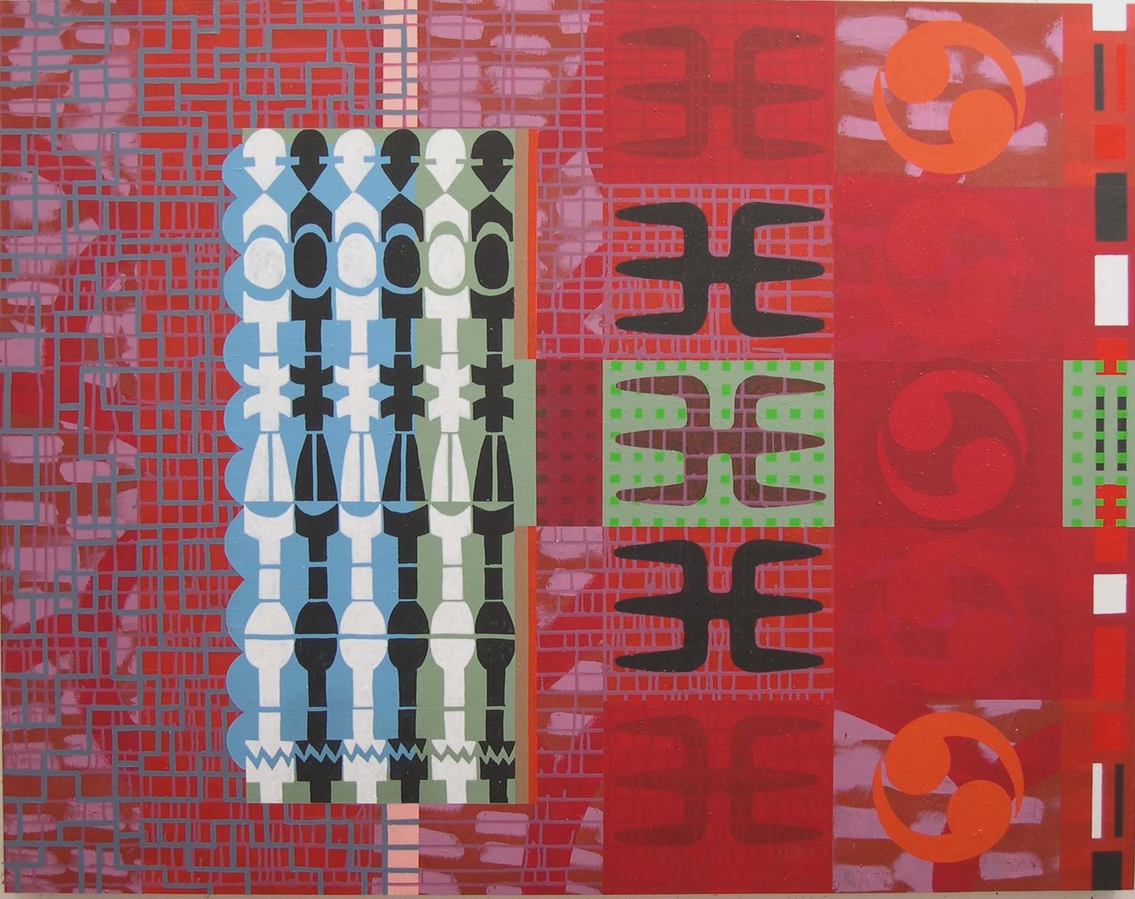 SELLOS Y TABLA SOBRE ENLACES. Acrílico sobre madera. 114x146. 2004