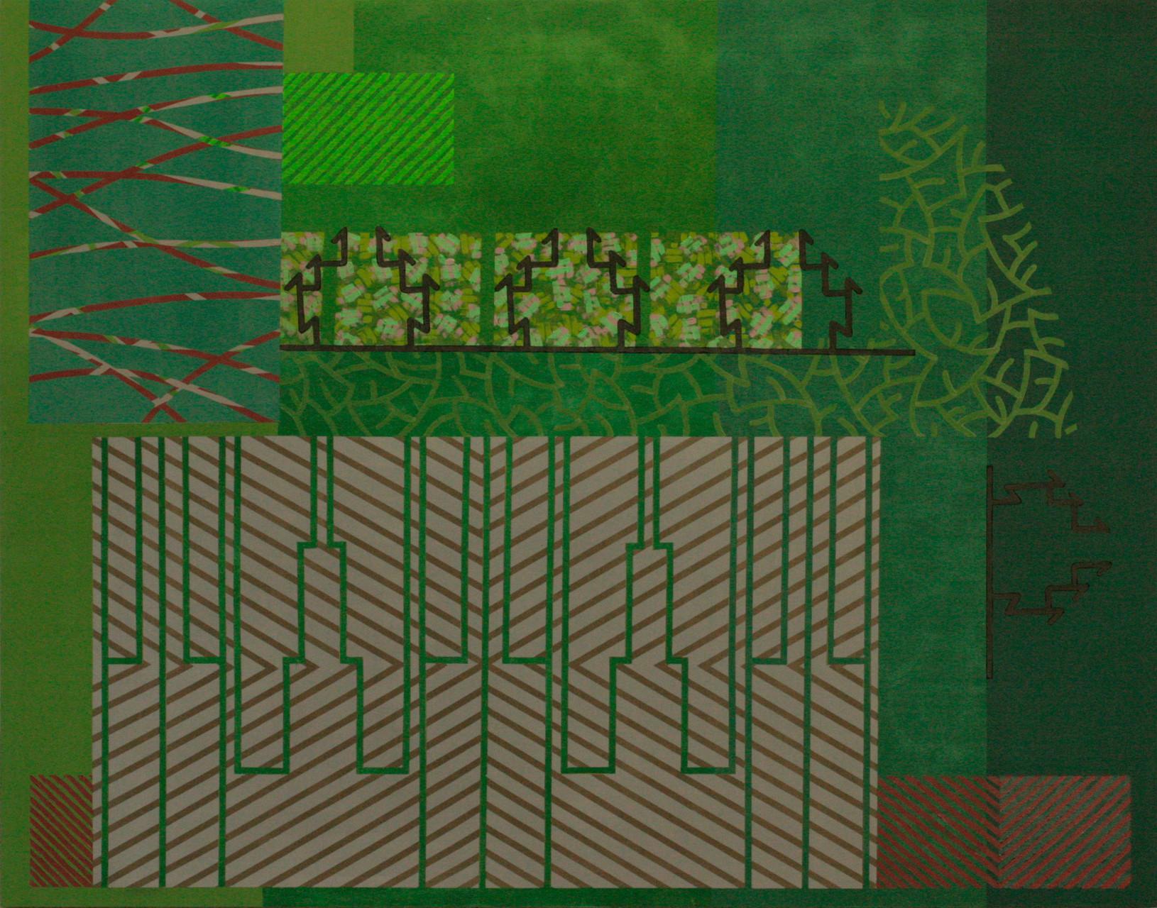 GREEN VARIATIONS. Acrílico sobre madera. 146X114 cm.   2015