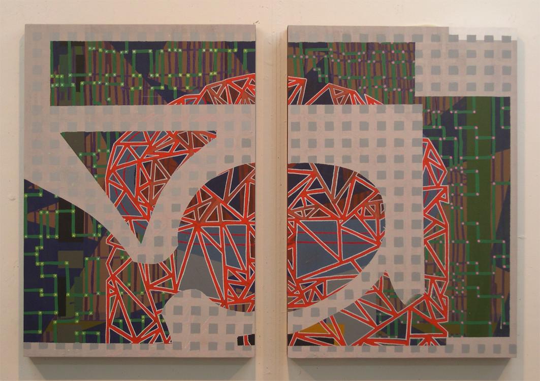 TEJIDO. Acrílico sobre tela montada en madera. Díptico 73x100. 2004