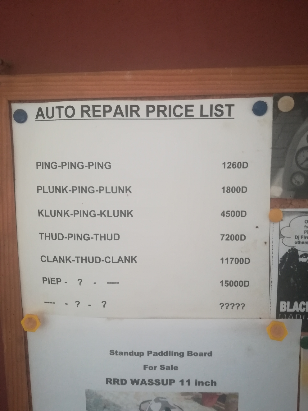 Hier die Werkstatt Preise