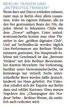 Welt am Sonntag über Biersommelier.Berlin April 2020