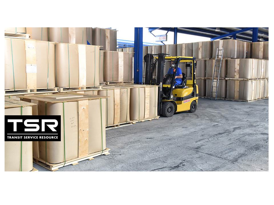 Forklift  brings the intermediate bulk container filled  with PMB to the  warehouse