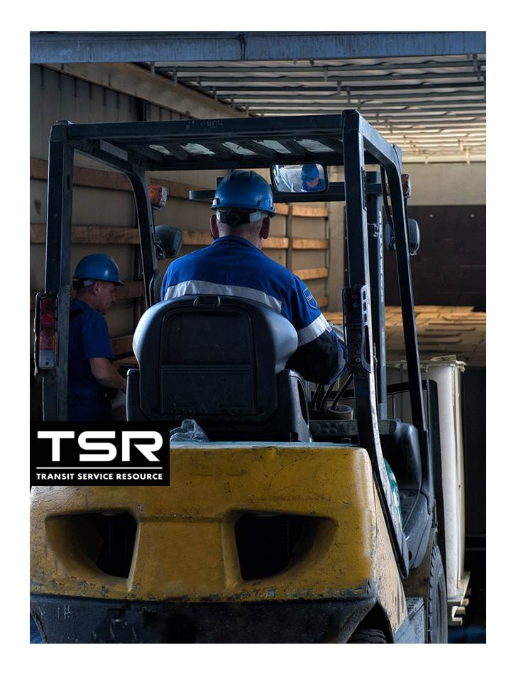 Forklift with IBC inside of the truck