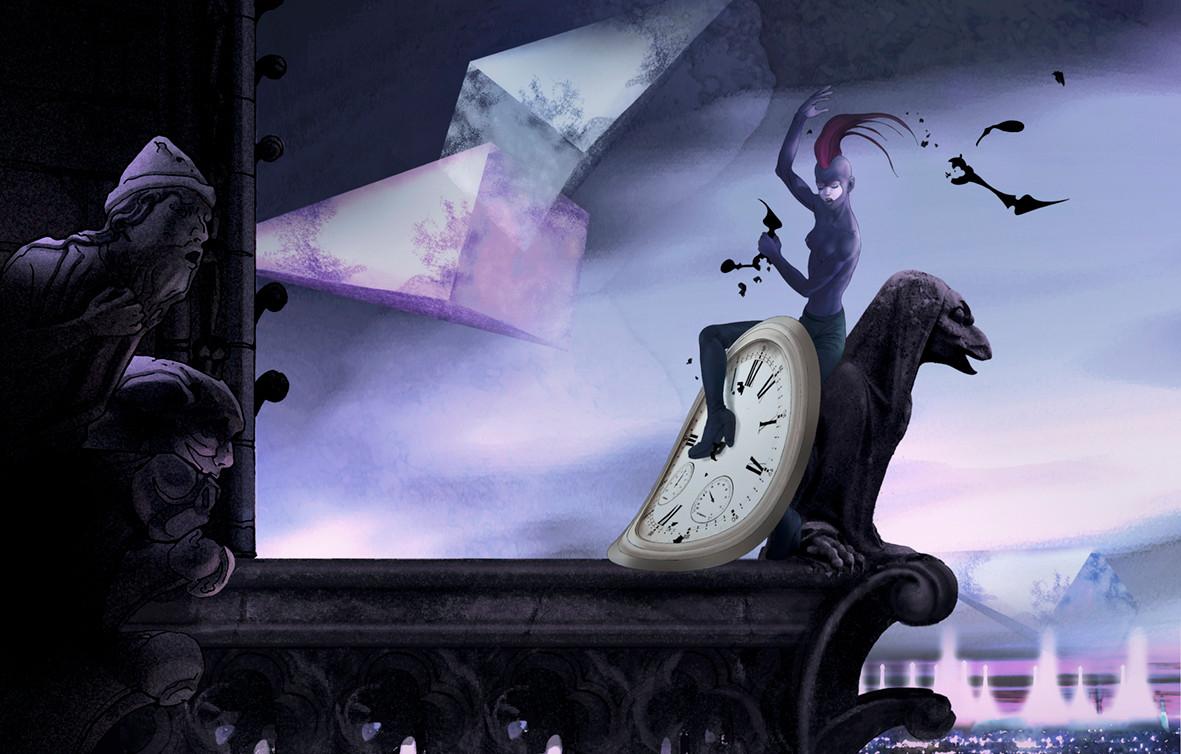 KARNA à NotreDame: L'horloge. SUPP. Papier TAILLES:  EXTRA. cm. 120 X 76