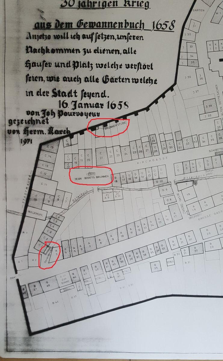 1658, Lage des Brunnenhauses, des ehemaligen Lochbrunnens (vormals Gerarsbrunnen) und des Erbsenbrunnens (ehemals Jaen Bodets Brunnen)