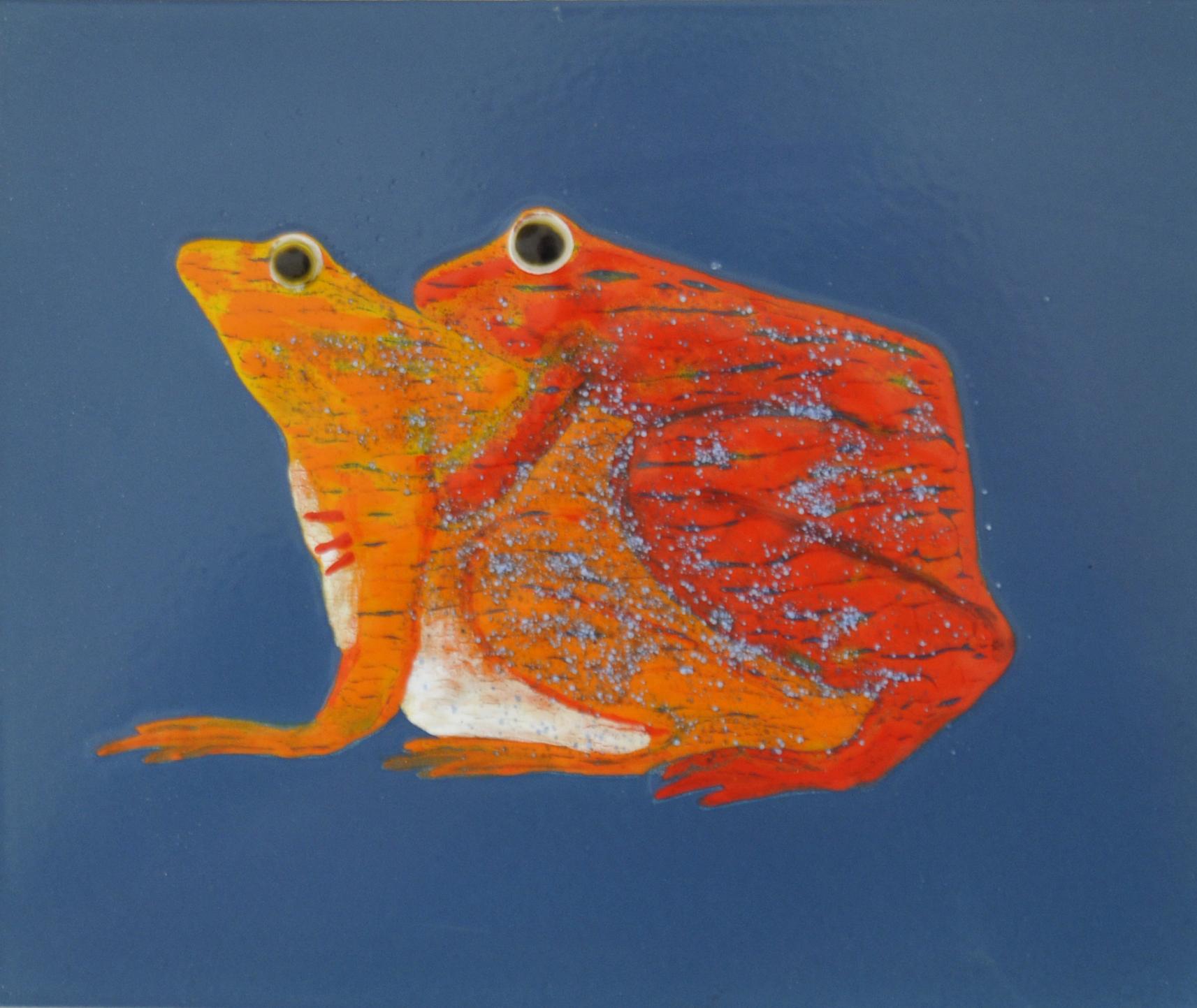 """""""Kopulation"""" 2014, 27 x 23,5 cm, opakes und transp. Email, 6 Brände"""