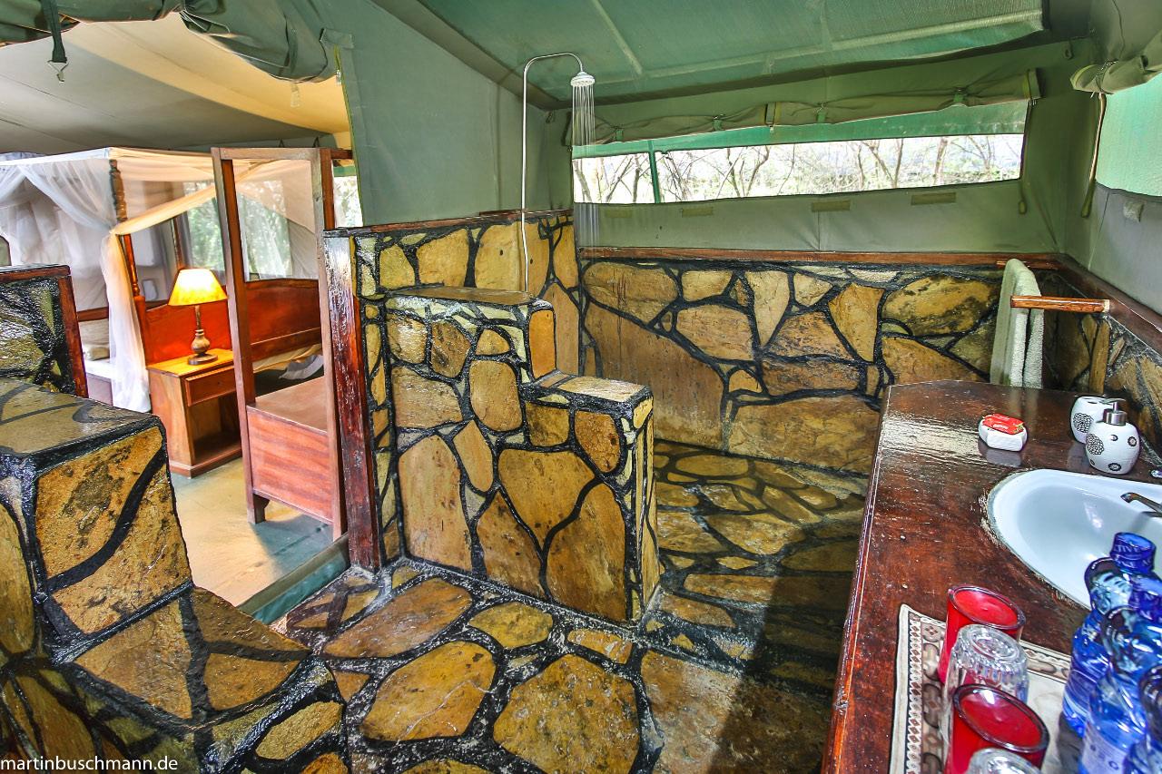 Badezimmer im Aruba Mara Camp
