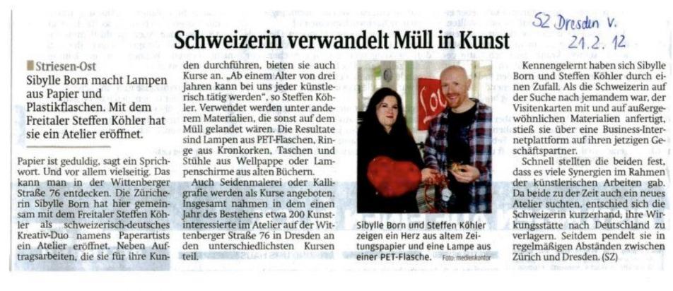 Sächsische Zeitung, Februar 2012