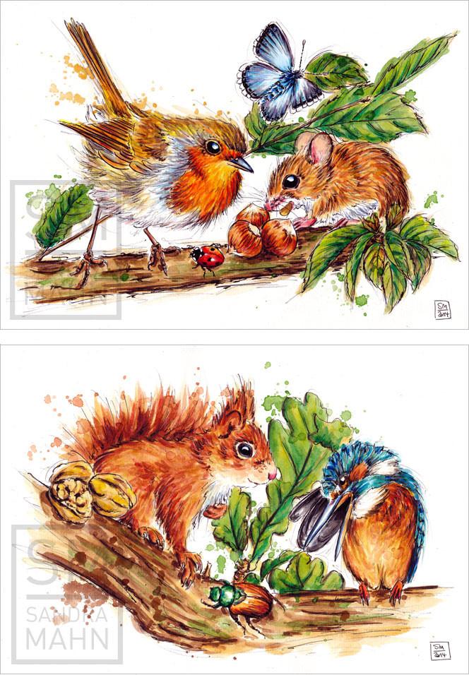 Maus & Rotkehlchen (verkauft) - Eichhörnchen & Eisvogel (verkauft) | mouse & robin (sold) - squirrel & kingfisher (sold)