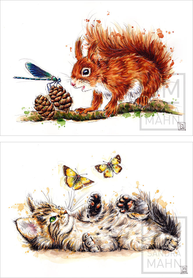 Eichhörnchen (verkauft) - Katze (verkauft) | squirrel (sold) - cat (sold)