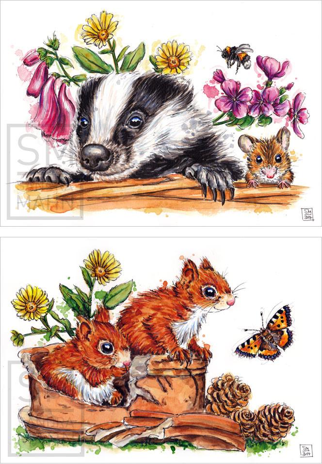 Dachs & Maus (verkauft) - 2 Eichhörnchen (verkauft) | badger & mouse (sold) - 2 red squirrels (sold)