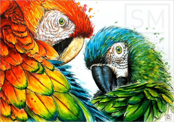 2 Papageien (verkauft) | 2 macaws (sold)