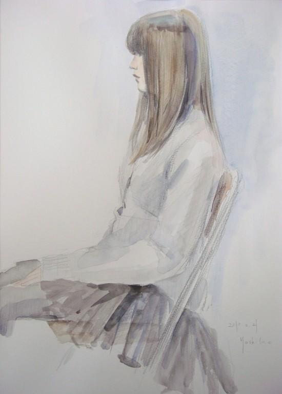 Sさん 透明水彩で少し前に描きました。このくらいの年齢の人はどんどんきれいになります。