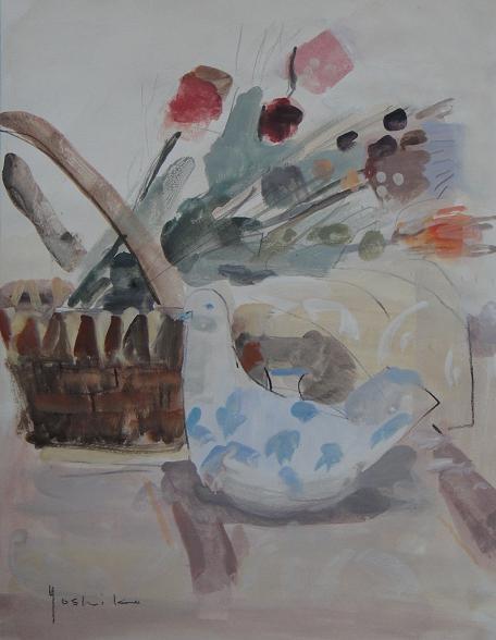 ある日のモチーフ (イタリアの置物とドライフラワー) 5号水彩(個人蔵)