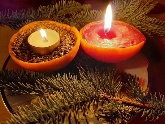 Kerze aus Ornagenschale