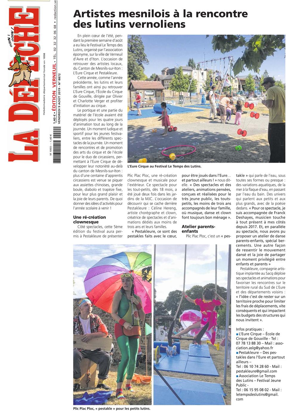 Article La Dépêche - Août 2019