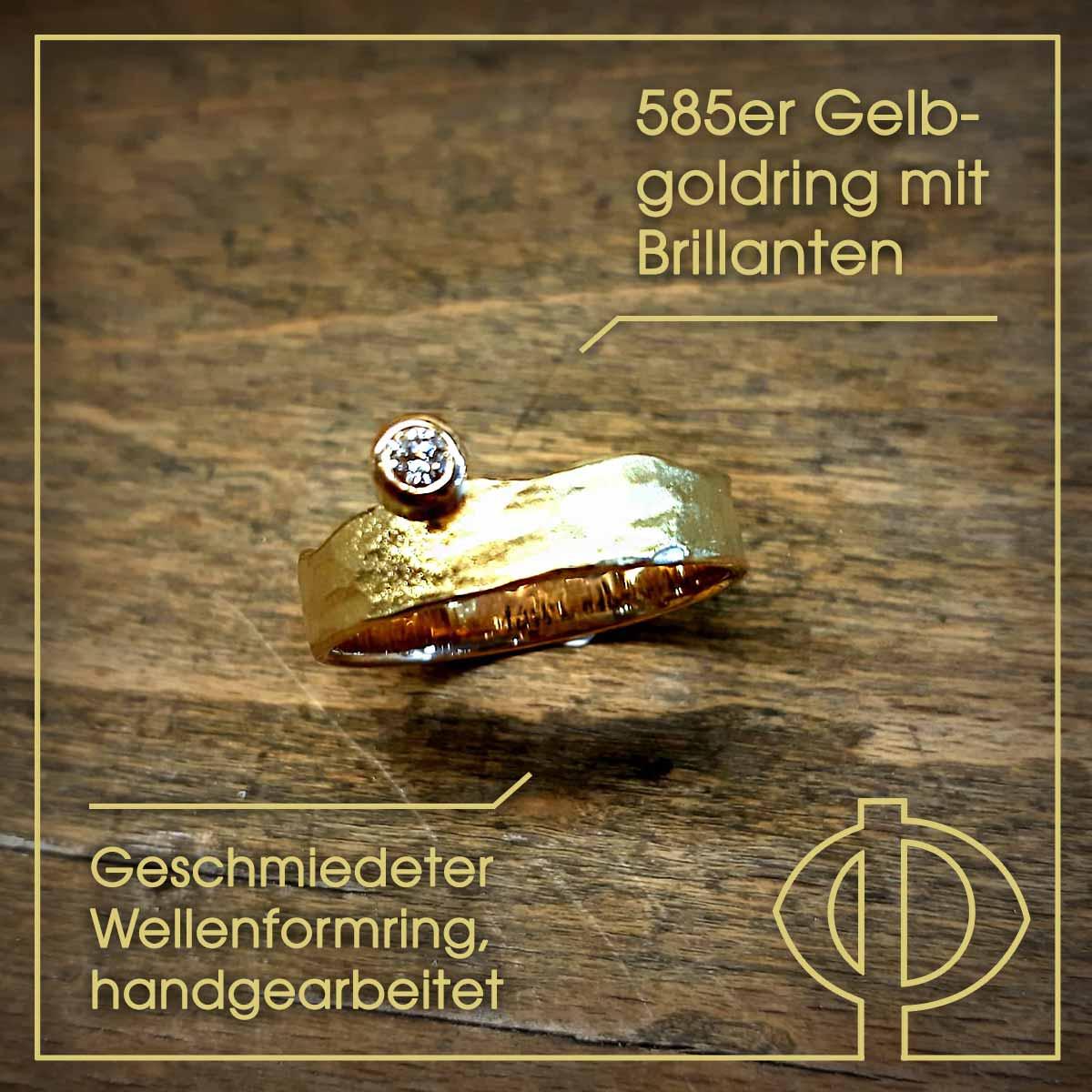 585er Gelbgoldring mit Brillanten - geschmiedeter, handgearbeitet Wellenformring