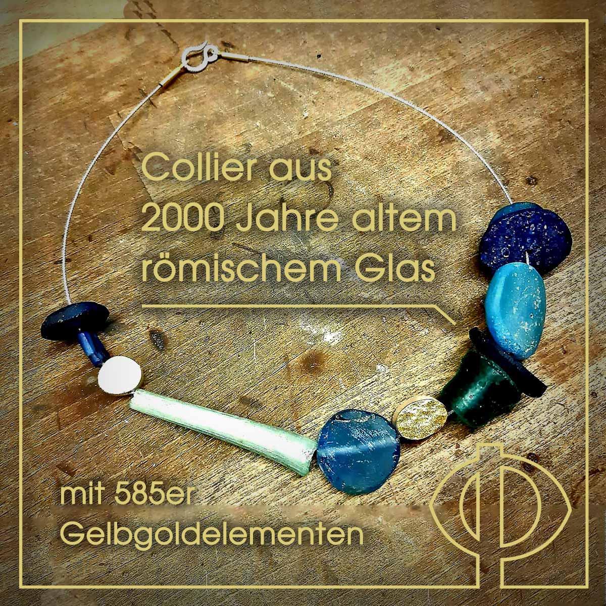Collier aus 2000 Jahre altem römischem Glas mit 585er Gelbgoldelementen