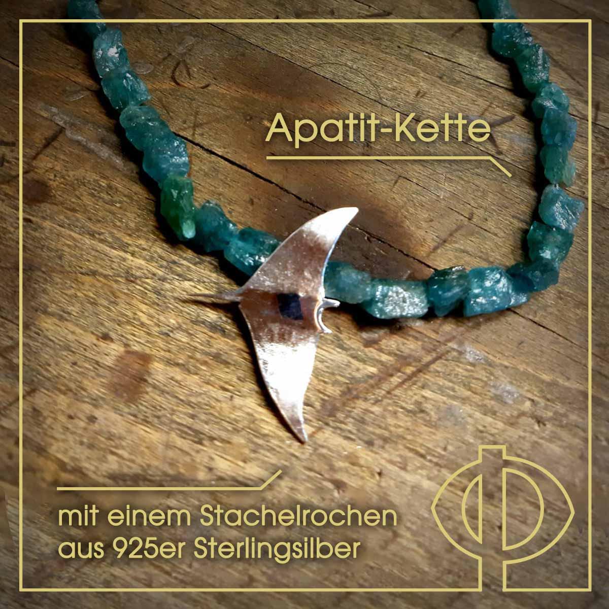 Apatit-Kette mit einem Stachelrochen aus 925er Sterlingsilber