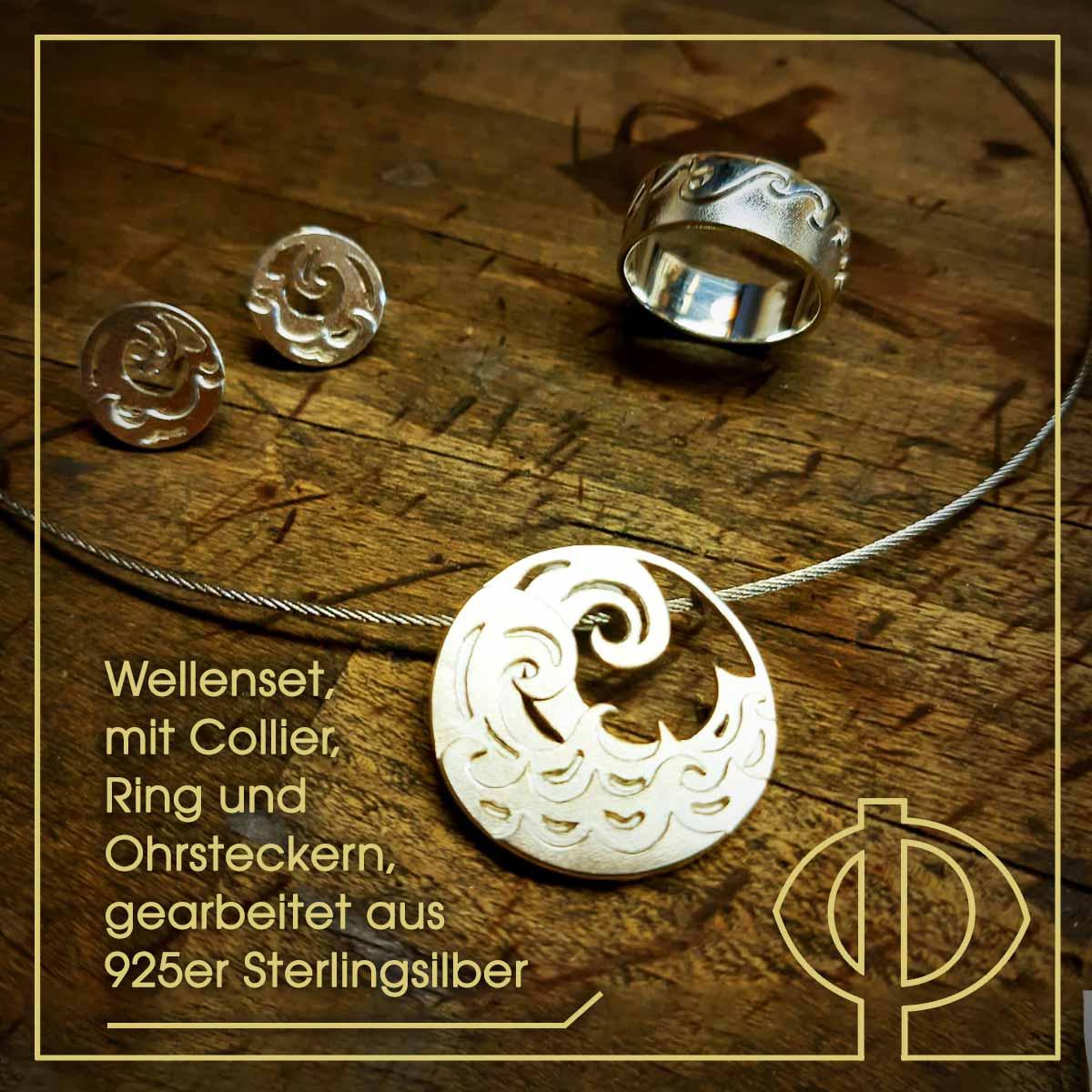 Wellenset mit Collier, Ring und Ohrsteckern - gearbeitet aus 925er Sterlingsilber