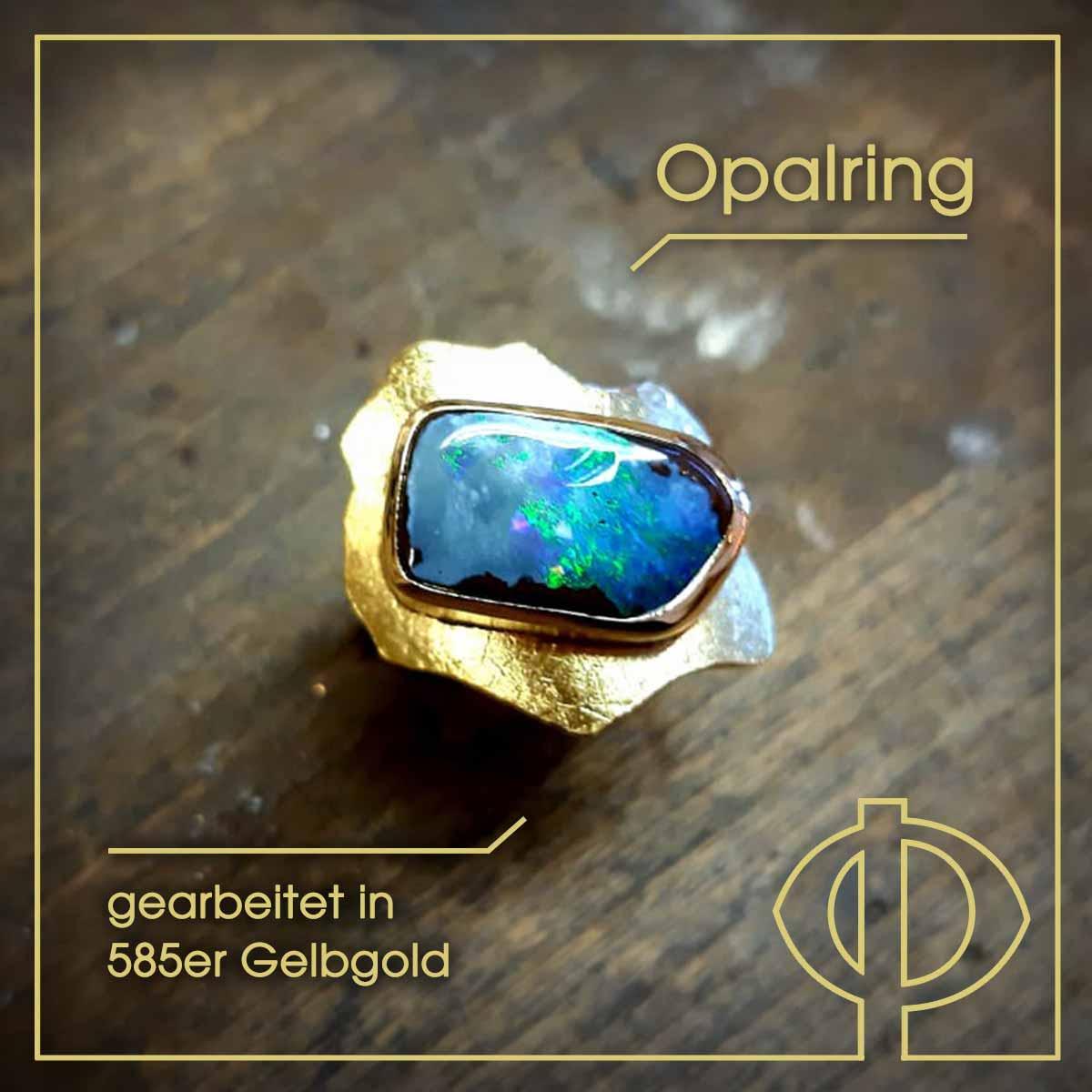 Opalring, gearbeitet in 585er Gelbgold