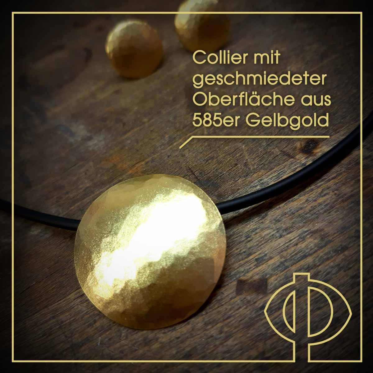 Collier mit geschmiedeter Oberfläche aus 585er Gelbgold